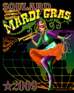 The official 2009 Soulard Mardi Gras poster